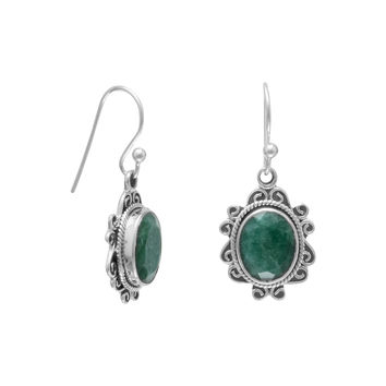 "Oxidized Sterling Silver ""Emerald"" Drop Earrings on French Wire Oxidized"