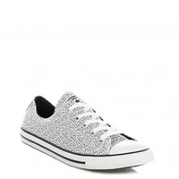 CONVERSE WOMENS WHITE & BLACK SPOTTED DAINTY LOW TRAINERS