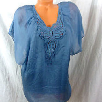 Carla Conti Pure Silk Blue blouse made in Italy size Small 100% silk Sheer NWT