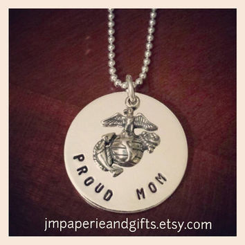 "Proud Mom - United States Marine Corps - Hand Stamped 18"" Sterling Silver Necklace (Official Hobbyist of the USMC)"