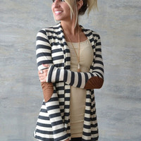 Striped Long Sleeve Elbow Patch Cardigan