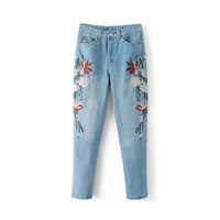 Ladies Women's Fashion Floral Embroidery Jeans [11405201999]
