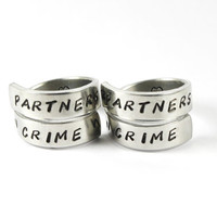 Partners In Crime Friendship Ring Set, Best Friend Sister Rings, BFF Pair Spiral Style Rings, Friends Forever Jewelry
