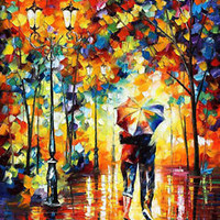Under One Umbrella — PALETTE KNIFE Oil Painting On Canvas By Leonid Afremov Huge