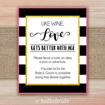 Guest Book Sign Bucket List Sign Wedding Sign Black and White Pink Gold Bridal Shower Games 014
