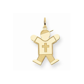 14k Yellow Gold Religious Boy With Hat Joy Charm