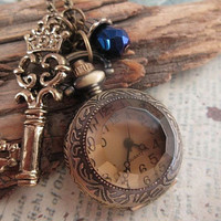 Royalty a pocket watch necklace with teardrop by trinketsforkeeps