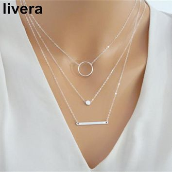 livera Elegant Women Necklace Alloy Collar Choker 3 Layers Party Simple Necklaces Friendship Gifts Geometrical Pendant Necklaces