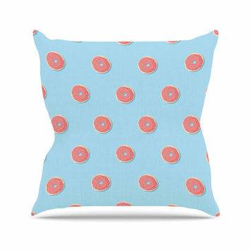 """Busy Bree """"Donut Dreams"""" Coral Food Outdoor Throw Pillow"""