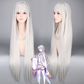 Re:Life in a different world from zero Emilia Silver White Long Anime Wig Straight Synthetic Halloween Costume Cosplay Hair