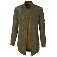 Classic Longline Oversized Bomber Military Parka Jacket with Pockets (CLEARANCE)