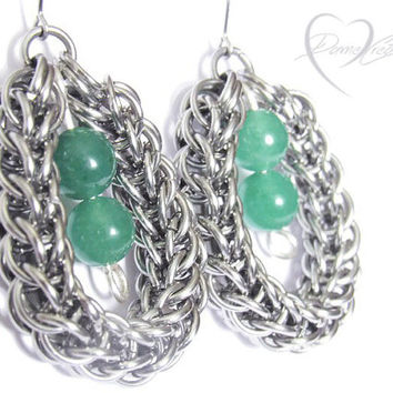 Chainmaille Earrings - Full Persian - Green Aventurine - Aventurine Stone - Chainmaille Persian - Green Bridesmaid - Valentine Day Gift