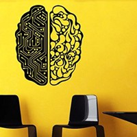 Wall Decal Vinyl Sticker Modern Brain Pattern Electronic Mind Gift Dorm V336