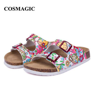 2017 New Summer Beach Cork Slippers Sandals Casual Double Buckle Clogs Sandalias Women Slip on Flip Flops Flats Shoe Plus Size