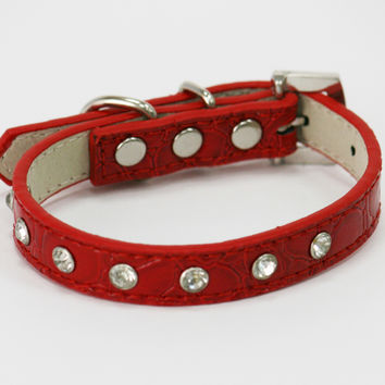 Rhinestone dog Collar, Red Leather collar