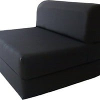 """Black Sleeper Chair Folding Foam Bed Sized 6"""" Thick X 32"""" Wide X 70"""" Long, Studio Guest Foldable Chair Beds, Foam Sofa, Couch, High Density Foam 1.8 Pounds."""