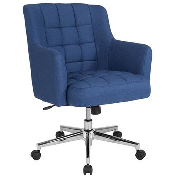 Laone Home and Office Upholstered Mid-Back Chair in Blue Fabric [BT-1176-BLU-F-GG]