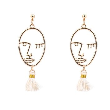 Face Figure Silk Thread Earrings Tassel Jewelry Female Korean Drop Earring American Indian Jewelry Lady Vintage Earrings Hippie