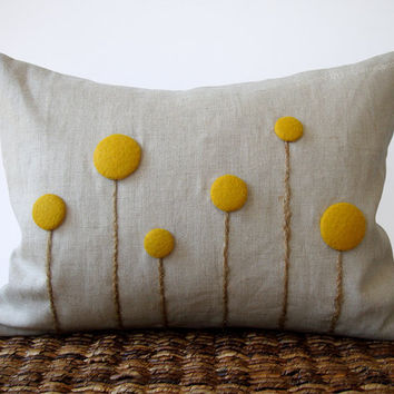 Yellow Billy Ball Flower Pillow in Natural Linen by JillianReneDecor Craspedia Billy Button Botanical Home Decor Honey Gold Spring Wedding