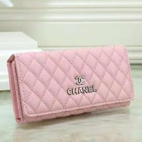 Fashion New Leather Women Clutch Bag Wallet Purse Pink