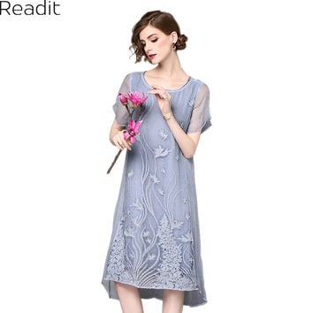 Readit Women Dress 2017 Spring Summer Yellow Blue Silk Dress Vintage Floral Pattern Embroidery Knee Length A Line Dress D2259