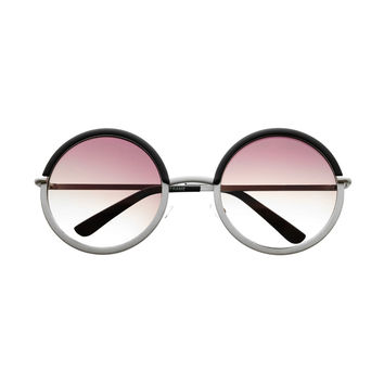 Two Tone Metal Large Circle Round Sunglasses Shades R3120