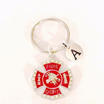 Choose Initial Red Maltese Firefighter Fireman Gift Wife Daughter Mom Keychain