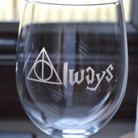 Etched Always (Harry Potter) Wine Glass    (Customizing available!)