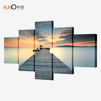 5 piece the sunset wall art dusk pier decorative canvas painting the living room sofa bedroom flowers canvas (no frame)