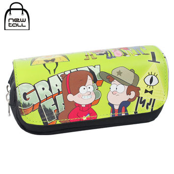 Gravity Falls Mabel Dipper Pines Pencil Case Large Capacity Organizer Magic Stick Cover Zipper Stationery Bag