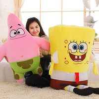 1pcs 40CM  Sponge Bob Baby Toy Spongebob And Patrick Plush Toy Soft Anime Doll For Kids Toys Cartoon Figure Cushion high quality