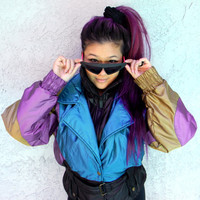 Vintage Ski Jacket - 90s Iridescent Purple, Aquamarine Blue and Copper Gold COLOR BLOCK Puffer Skiwear Jacket by Hot Music - Size Small S