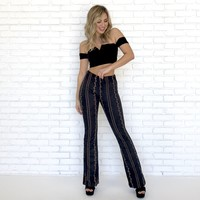 Suede Embroider Bell Bottom Pants