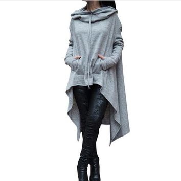 Plus Size Sweatshirt Women Pockets Hoodies for Women Hoodie Scarf Collar Long Sleeve Fashion Solid Color Asymmetrical Pullover