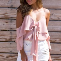 Mirelo Blush Front Tie Top