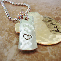 Hero hand stamped brass police badge necklace with heart