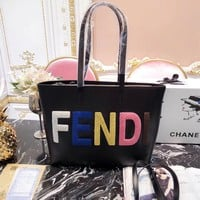 Fendi Women Shopping Leather Tote Handbag Shoulder Bag