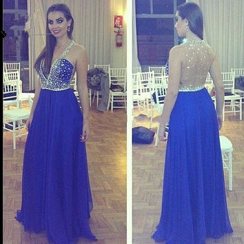 See Through Back Prom Dress,Blue Prom Dresses,Long Evening Dresses