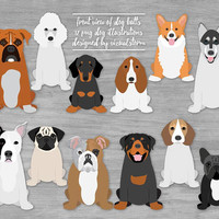 Front of Dog Butts Clipart Graphics Sitting Dogs Illustrations Pitbull Corgi Doxy Husky Boxer Beagle Poodle Bulldogs Basset Pug Rottweiler