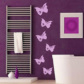 Butterfly Set of 6 Fashion Zoo Animals Decor Wall Decal Art Vinyl Sticker tr611