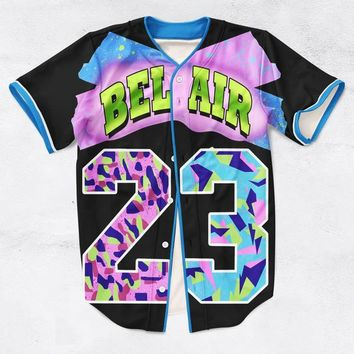 Beauty Ticks 2 Colors Real American Usa Size Custom Made Fashion 3d Sublimation Print Bel Air 23 - Fresh Prince Baseball Jersey Plus Size