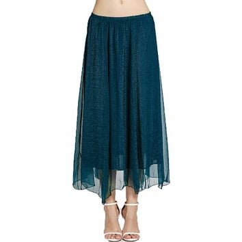 Women Summer Vintage Pleated Long Maxi Midi Chiffon Women Skirts Retro Fluffy