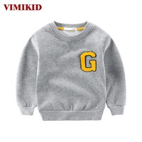 Boys Clothing T-shirt Children's Sweater Warm Letters Long Sleeve O-neck Kids Children Clothes
