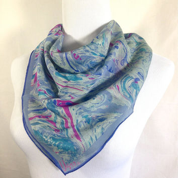 Vintage Vera Neumann Large Square Sheer Scarf Abstract Swirl Design Shades of Blue Lavander and Fuchsia Pink Ladybug Signature