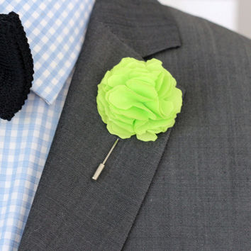 Oscar Wilde green Carnation lapel flower, Linen Flower pin, mens boutonniere, mens lapel pin,