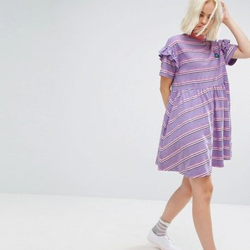 Lazy Oaf Short Sleeve Smock Dress In Stripe at asos.com