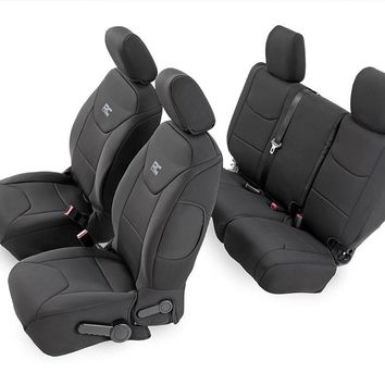 Jeep Wrangler Unlimited JK Black Neoprene Seat Cover Set (Front & Rear) 2011 - 2018