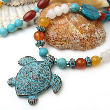 Sea Turtle Necklace Carnelian Quartz Coral Beaded Handmade, Mykonos pendant, Sterling Beads and Clasp, Colorful