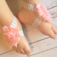 Barefoot Sandals... Baby Pink and Grey Chevron Barefoot Sandals...