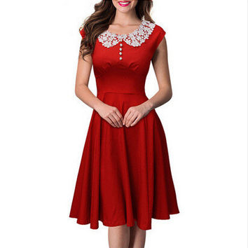 Hot Sale Dolls Sleeveless Lace Vintage Dress One Piece Dress [6338969217]
